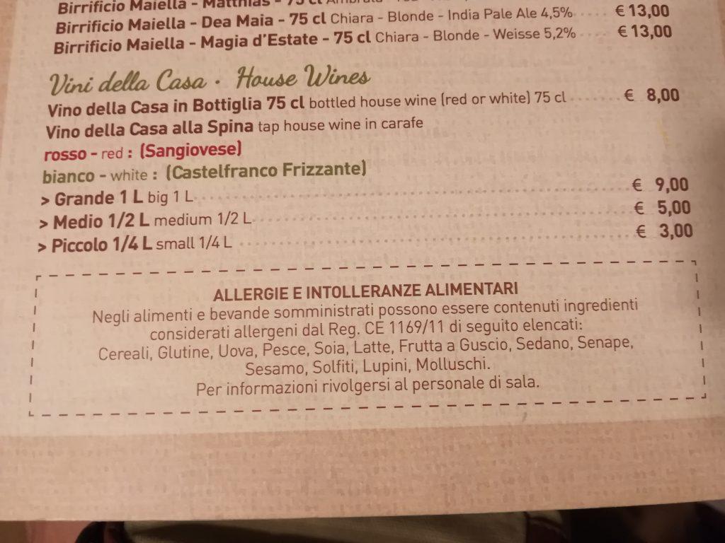 Alergeny we Włoszech - sposób informowania